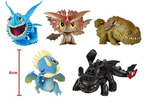Set Completo 5 Mini Dragons Spin Master - Toothless - Stormfly - Thunderdrum - Cloudjumper - Grump