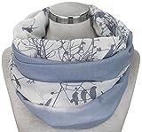 PiriModa XXL Neue Kollektion Damen Schal leichter Schlauchschal Viele Farben (M1 Blau/Grau/Weiss)