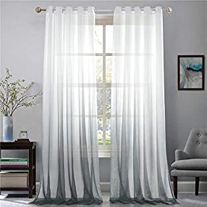 f0de44076b82d1 Lindong Farbverlauf Voile Vorhang Transparent Gardinen mit Ösen Dekoschal  für Wohnzimmer Schlafzimmer 1er-Pack grau