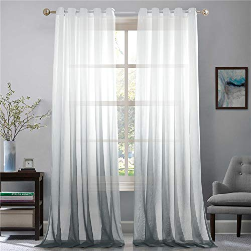 Lindong Farbverlauf Voile Vorhang Transparent Gardinen mit Ösen Dekoschal für Wohnzimmer Schlafzimmer 1er-Pack grau 140x225cm