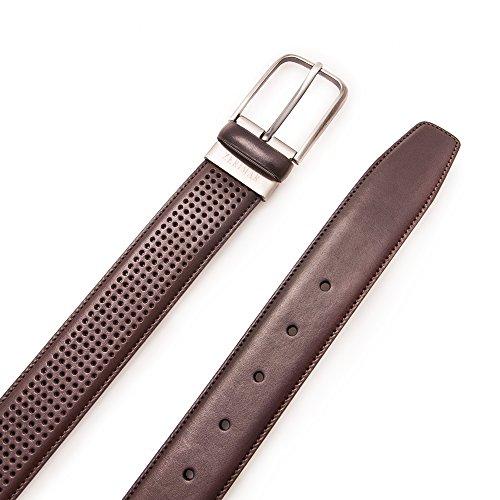 Authentique ceinture faite avec peau de vachette. Conception de petits trous. Mesures: 95-100-105-115 cm. Couleur brun. Brun