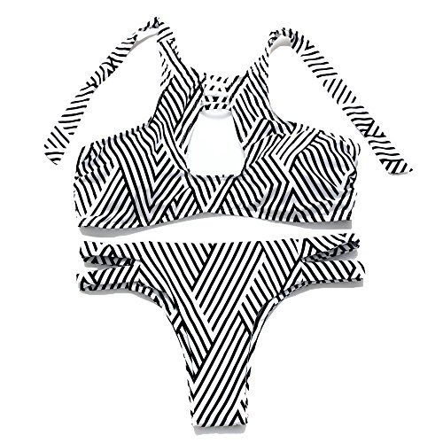 JOTHIN Madchen Sommer Sexy Bikini-set Frauen Halter Bademode Druck Streifen Swimsuits (S, Streifen) (High Cut Schwimmen Kostüme)