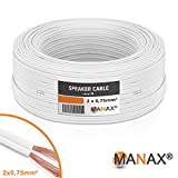 MANAX SC2075W-25 Lautpsrecherkabel 2X 0,75 mm² CCA (Boxen-/Audiokabel), Ring 25m weiß