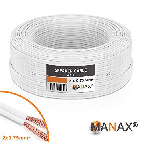 Manax SC2075W-30 Lautpsrecherkabel 2x0,75 mm² CCA (Boxenkabel/Audiokabel), Ring 30 m, weiß
