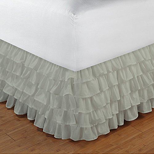 600TC 100% cotone egiziano, finitura elegante 1pcs multi Ruffle Giroletto A Goccia (lunghezza: 19cm), Cotone, Chocolate Solid, UK_Super_King Ivory Solid