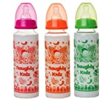 #6: NAUGHTY KIDZ Premium Borosilicate Feeding BOTTLE-250ML (Pink+Green+Orange)