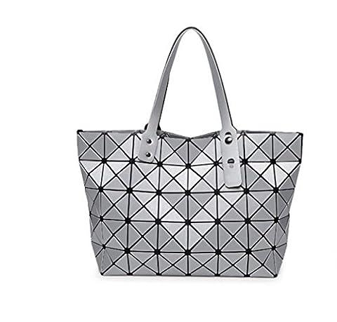 STRAWBERRYER Geometrische Handtasche Damen Frühling Matte Gebürstete Japanische Lingge Leder Schultertaschen Satchel Tote,Silver-OneSize