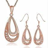 Parure Placcato oro rosa 18K carati Gioiello di alta qualità Cristallo Cristallo Donna Rosa Teide Anelli immagine