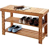 Burwells Wooden Bamboo Shoe Rack And Bench Seat With 2 Shelves