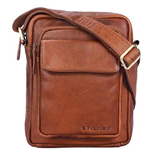 STILORD \'Jannis\' Leder Umhängetasche Männer klein Vintage Messenger Bag Herren-Tasche Tablettasche für 9.7 Zoll iPad Schultertasche aus echtem Leder, Farbe:Cognac - braun