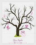 Livingstyle & Wanddesign Fingerabdruck Leinwand mit Namen des Täuflings und Datum, Motiv Taufe Mädchen