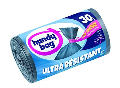 Handy Bag 2 Rouleaux de 20 Sacs Poubelle 30 L, Lien Pratique, Ultra Résistant, Anti-Fuites, 50 x 70 cm, Gris Foncé, Opaque