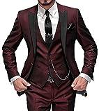 GEORGE Abito Completo Uomo 5 pezzi tuta con Blazer,Pantaloni,Gilet, Cravatta,Piazza Pocket 002,Borgogna,XL