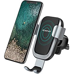 Wireless Car Charger, Steanum Qi Fast Wireless Charger Car Air Vent Mount Phone Holder 360°Rotating Gravity Sensor Fast Charge for Samsung s9/ s8/ s8 Plus/ S7/ S6 Edge+ Standard Charger for iPhone 8/ 8 Plus/ X