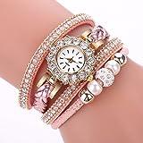 Armbanduhr Damen Ronamick Frauen Uhren Mode Vintage Weave Wrap Quarz Armbanduhr Armband Für Damen Armbanduhr Armband Uhr Uhren (Rosa)