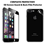Iphone 7 Plus Tempered Glass Original 5D & Back Screen Guard. [Anti Scratch] [HD Clear] [Curved] [Bubble-Free] [Anti Crushing] [Black Color] [Front+Back]