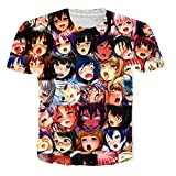 OPCOLV Hommes Ahegao T-Shirt Manga Tee Anime Visage T-Shirt Comics Loose Loisirs À Manches Courtes