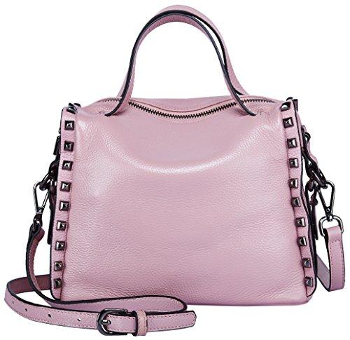 BOYATU Frauen Leder Handtasche Schultertasche Crossbody Handtasche Top Griff Tasche Satchel Tote für Damen (Pink)