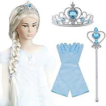 Vicloon Upgrade Déguisement de Filles pour Costume d'Elsa la Reine des Neiges - Perruque / Gants / Diadème avec Un Diamant / Baguette Magique pour Carnaval 2-10 Ans