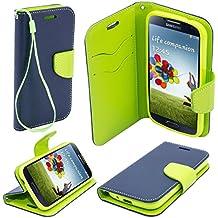 Moozy due colori Fancy Diary Custodia Flip cover con funzione di appoggio / cinturino / supporto del telefono in silicone per Samsung i9500 Galaxy S4 Blu / Verde chiaro