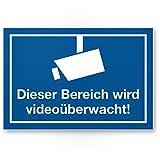 Bereich wird videoüberwacht Kunststoff Schild (blau), Hinweisschild Innen/Außen, Warnhinweis Videoüberwachung Einbruchschutz, Hinweis Prävention von Einbrüchen - Abschreckung