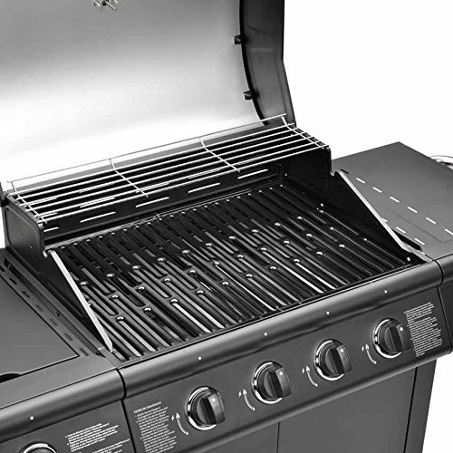 CosmoGrill Deluxe 4+1 Gas Burner Grill BBQ Barbecue incl. Side Burner – Black 61 x 42cm 93411