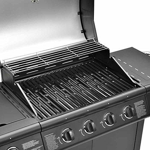 FirePlus 4+1 Gas Burner Grill BBQ Barbecue incl. Side Burner - Black