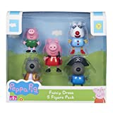 Peppa Pig collectable five pack of figures in the fun dress up costume designs! each figure is articulated with moving arms & legs. There's magician Peppa, Danny pirate, Pedro clown, cowgirl Wendy & George dinosaur. One five figure pa...