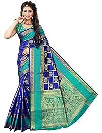 Indian Fashionista Women's Banarasi Silk Saree With Blouse Piece (Butta Saree) (ALK-BANARASISILK-BLUE_Free Size_Blue)