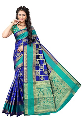 Indian Fashionista Women's Banarasi Silk Saree with Blouse Piece (Butta Saree) (ALK-BANARASISILK-BLUE_Free...