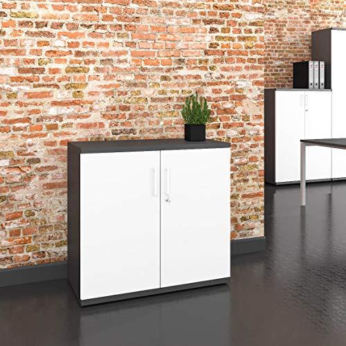 WeberbÜro armadio per archiviazione profi chiudibile a chiave 2oh bianco antracite armadio per ufficio armadio a battente con porta a battente