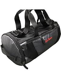 Shopaholic Polyester Black Grey Stripe Travel Duffle Gym Bag For