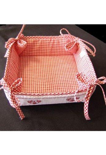 Corbeille à pain - rouge - blanc à carreaux - broderie - cœur -