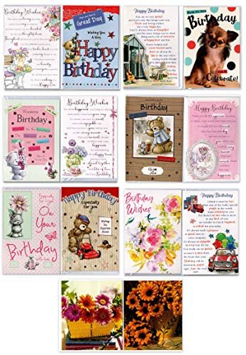 90 tarjetas cumpleaños surtidas gama Greetingles