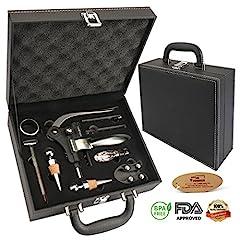 Idea Regalo - Yobansa®, scatola di vino in poliuretano con accessori, set regalo con apribottiglie e tappo da vino, kit di accessori da vino 9 Set of Pu Box Wine Set