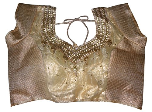 Bigfashionshop Women's Designer Blouse Brocade Silk Golden Stitched Padded Choli Small  available at amazon for Rs.799