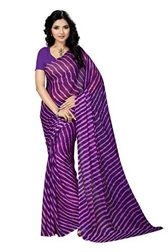 Rani Saahiba Chiffon Saree without Blouse Piece (SKR3650_Purple_One Size)