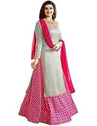 FSTYLETIME Prachi Desai Grey & Pink Embroidered Indo Western Salwar Suit