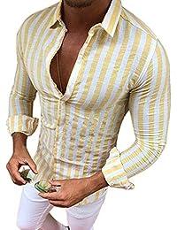 Msliy Camisa de Hombre Soporte de Cuello a Rayas Camisa Casual Moderna de Manga  Larga Otoño 94b886bd610b