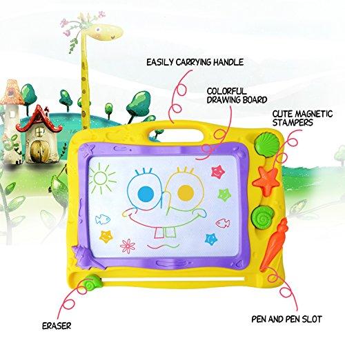 Pootack Pizarra magnética colorido  Almohadilla borrable de escritura y dibujo para niños 2 años 3 años 4 años   Juguetes educativos   Megasketcher   Portátil   Tamaño 40 x 31CM   Amarillo