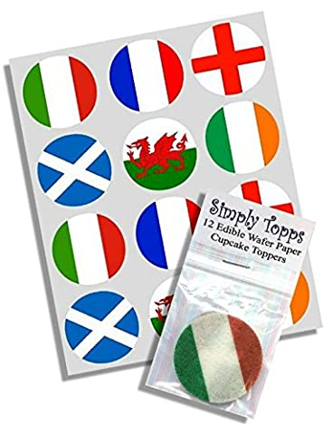 12 Rugby 6 Nations Flags rice paper fairy / cup