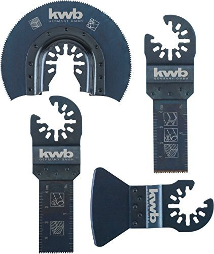 kwb AKKU-TOP Multitool Sägeblätter - Werkzeug-Set, 4-teilig, inkl. CV Tauchsägeblatt, halbrundem HSS Segment-Sägeblatt und Spachtel