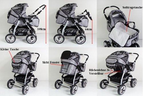3 in 1 Kombikinderwagen Komplettset VIP – inkl. Kinderwagen, Babyschale und Sportwagen Aufsatz – 3. IRYS Hartgummi Bereifung – 18. Schwarz-Weiseblumen