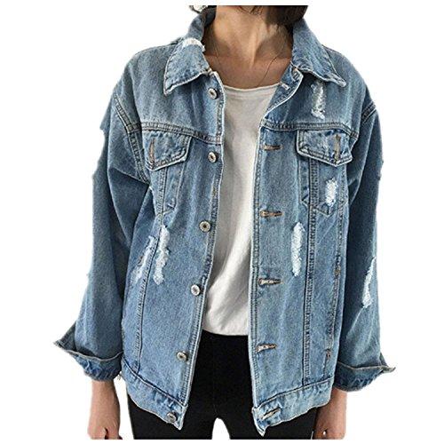 CYSTYLE Frauen Basic Mäntel Herbst und Winter Damen Jeansjacke Vintage Langhülse Lose Mädchen Jeans Mantel Beiläufige Outwear (EUM=Asia L)