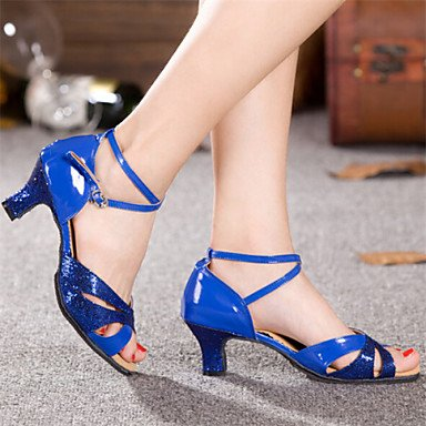 Dance Shoes Quietness Ruhe @ Damen Tanzschuhe Latin Patent Leder Chunky Ferse blau/rot/Silber/Gold, rot - 6