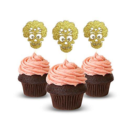Catrina mexikanischen Party Cupcake Topper Farbe Gold 12Stück Cupcake Topper Dekoration Kuchen Graduation Baby Dusche (Dekorationen Eulen Baby-dusche)