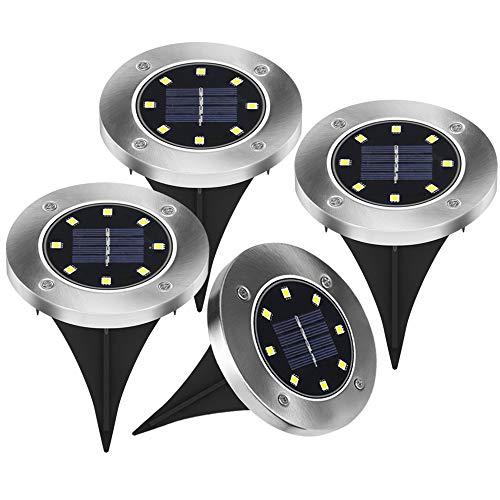 4 Stück LED Solarleuchten Bodenleuchte 8 LED Solar Leucht außen Solarleuchte Wasserdichte Solar Bodenstrahler Edelstahl Garten Landschaftslichter für Rasen Weg Hof Fahrstraßen, WarmWeiß (4 Stück)