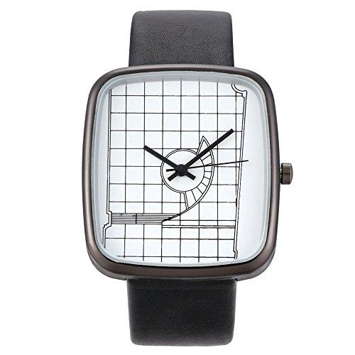 Deloito Damen Uhr Mode Lederband Schnalle Uhren Einfaches Analog Quarz Runde Armbanduhr (B)