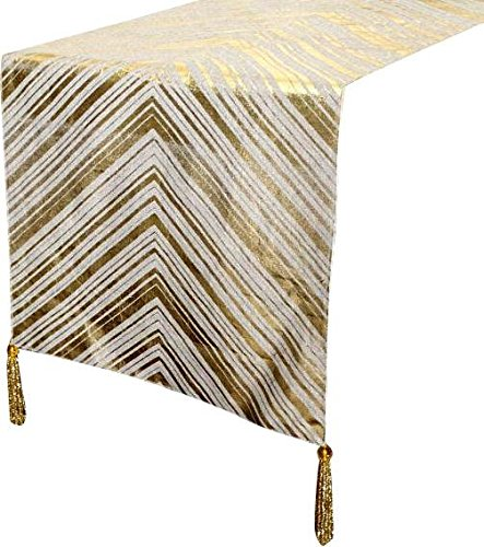 Handgemachte, Designer, dekorative Tischläufer-Natural Beige, Gold - 35 x 300 cm - Baumwolle-Leinen Goldfolie Print Runner, Chevron Goldfolie Druck auf Leinenstoff mit Gold Perlen Quasten an den Ecken