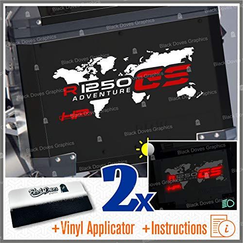 Black Doves Graphics 2pcs Aufkleber R1250GS HP Adventure kompatibel für Motorrad R1250 GS HP R 1250 HP Touratech y GIVI Trekker Outback 37L 48L (Weiß/Rot)